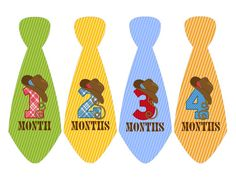 BabyMonthly Stickers Baby Boy/Ties with Cowboy Hats/Cowboy Baby Monthly Stickers/ Necktie Stickers for Wee Ones/ Uncut/Boys Baby Shower Gift on Etsy, $10.00