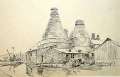 Price Bros (Burslem) Ltd, Pottery UK Earthenware manufacturer c.1903 to end of 1961- succeeded by Price and Kensington in Jan 1962      Sketch of the potteries and bottle kilns by Jack  Meriott (British 1901-1968) likely drawn in the 1950's   Shared by sketch owner James Hazelwood, UK