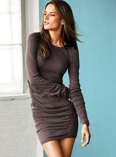Ruched Cotton Sweaterdress in Brownstone Heather - Victoria's Secret