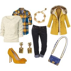 Blue, yellow, red and white plaid flannel shirt, off-white sweater with blue flecks, dark wash denim jeans, yellow fur trimmed coat, cobalt blue purse with gold embellishments, Chanel tag earrings, and a Chanel bracelet.