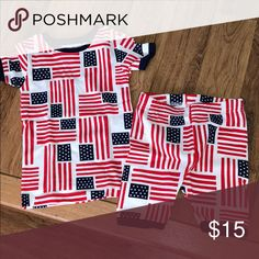Gap USA Flag Size 3T 2 Pieces Short Sleeve PJ Set Never worn or even washed... the pants i cut out the tag tho... But brand new.... ! Gap Kids Pajamas Pajama Sets