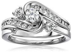 IGI Certified 14k White Gold and Diamond Interlocking Bypass Bridal Wedding Ring Set (1 cttw, H-I Color, I1-I2 Clarity)  http://stylexotic.com/igi-certified-14k-white-gold-and-diamond-interlocking-bypass-bridal-wedding-ring-set-1-cttw-h-i-color-i1-i2-clarity/