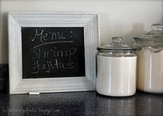 Chalkboard Paint!  1 cup of paint + 2 tbsp. unsanded grout