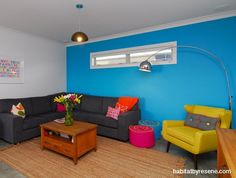 This Resene Endorphin wall was homeowner Trudy Nettle's first foray into bright colour. As a cooler counterpoint, the other walls are Resene Alabaster. http://www.habitatbyresene.co.nz/lolly-scramble-using-bright-colour