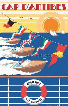 Vintage Travel Poster - Cap d'Antibes - Eden Rock - France.