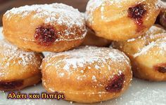 Berliner (German Doughnut) Recipe on Yummly No Egg Desserts, German Desserts, German Recipes, Danish Recipes, Greek Desserts, Russian Recipes, Fried Donuts, Doughnuts, Donut Recipes