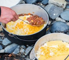 Backcountry lasagna cooked in a dutch oven.