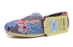 Toms Women Classics Floral Print Shoes Blue