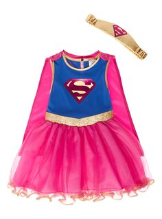 Make them feel like a Supergirl with this costume. Featuring a flared skirt with a gold border, this costume comes with a detachable cape and an elasticated belt. Kids pink Supergirl costume Sleeveless Superman logo Flared skirt Gold border Detachable cape Elasticated belt Keep away from fire