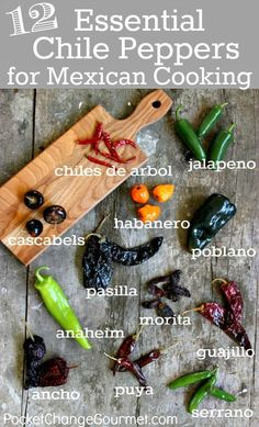 12 essential chile peppers for mexican cooking: chiles de arbol, jalapeño, habanero, cascabels, poblano, pasilla, morita, anaheim, guajillo, ancho, puya & serrano