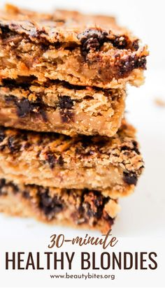 Healthy Peanut Butter Blondies Recipe With Chocolate chips! These easy flourless vegan chickpea blondies are a super delicious healthy dessert that you can make in around 30 minutes using minimal equipment. They're super delicious and you'll probably want to eat the entire thing in one day… Gluten Free Recipes For Lunch, Healthy Dessert Recipes, Vegan Recipes Easy, Easy Desserts, Healthier Desserts, Peanut Butter Blondies Recipe, Healthy Peanut Butter, Chocolate Chip Recipes, Chocolate Chips
