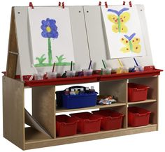 Double Sided Dry Erase Easel W/ 4 Open Face Boards, Birch Storage Shelves