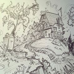 A curious #fantasy #sketch by Edwin Rhemrev (@rhemrev) of a cozy looking house on top of a hill. At first I thought it a forest cottage set deep within the woods but this seems to be a bit upgraded given the hearty stone foundation elaborate entry staircase lightning rod and metal chimney. Sure the chimney flue seems to need some realigning and there is an outhouse but the owner (or at least the person that constructed the house) appears to be fairly well off from a monetary point of view…