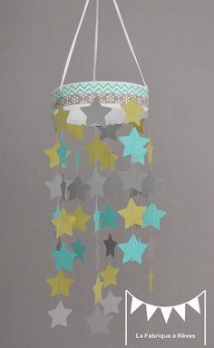 mobile étoiles turquoise vert anis gris décoration chambre enfant bébé garçon fille décoration mixte mariage baptême communion anniversaire 4