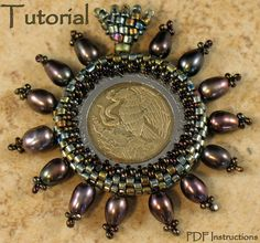 Beading Tutorial  Captured Coin Pendant di StickLizardDesigns