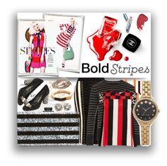 """We Love Stripes!!"" by stylediva20 ❤ liked on Polyvore featuring Chanel, Balmain, Edie Parker, Vince, MSGM, Salvatore Ferragamo, SPINELLI KILCOLLIN, Vita Fede, Oscar de la Renta and Marc Jacobs"