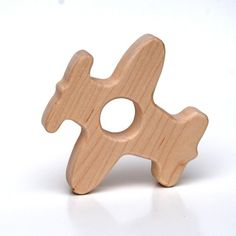 Wood Teether Airplane Personalized Wooden Toy Natural Baby Toy
