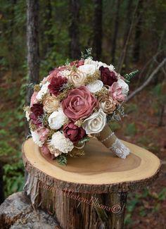 Gold Bouquet, Burgundy Bouquet, Red Bouquet Wedding, Dusty Rose Wedding, Rustic Bouquet, Burgundy Flowers, Bride Bouquets, Red Wedding, Wedding Flowers