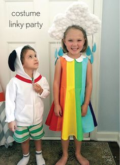 Oliver + S Building Block Dress as a rainbow and cloud costume