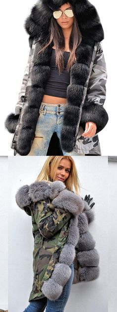 Slim Faux Fur Patchwork Hooded Women's Overcoat. Size: S to 3XL.Model:Straight; Length:Mid-Length