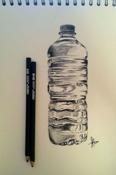 30 Plastic Bottle Pencil Drawing Ideas – Keep up with the times. Water Bottle Drawing, Water Bottle Art, Water Drawing, Water Art, Water Sketch, Plastic Bottle, Water Bottles, Pencil Drawing Images, Object Drawing