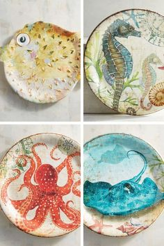 Add some fishy fun to your summertime parties, everything will look better on one of these charming sea creature platters. Seashell Painting, Pottery Painting, Ceramic Painting, Pottery Art, Sand Dollar Art, Shells And Sand, Advanced Ceramics, Clay Art Projects, Painted Shells