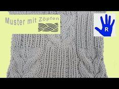 Stricken - Zopfmuster mit Rippen - YouTube