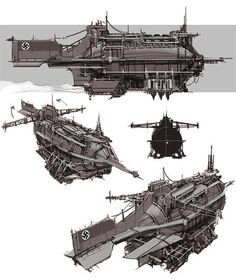 Art by Paul Richards a. Steampunk Airship, Dieselpunk, Steampunk Weapons, Concept Ships, Concept Art, Prop Design, Alternate History, Environment Concept, Tecno