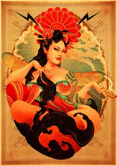 Oneq does some rather stunning hyper stylized images drawing upon her Japanese heritage, with this robust eye popping Burlesque pinup.