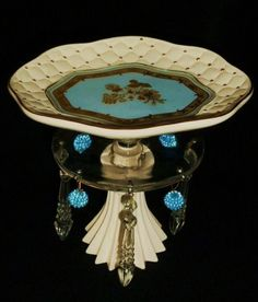 gold leafed, tufted plate, crystal bobesche with faceted crystal dangles & beads, pleated porcelain base