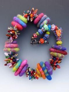 Felted Wool, Rivets, Bead Crochet and Lampwork Glass Bead Necklace, $242
