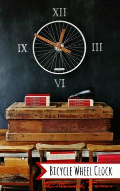 Bicycle Wheel Clock http://homeandgarden.craftgossip.com/bicycle-wheel-clock/?utm_source=feedburner_medium=email_campaign=Feed%3A+craftgossip%2FxQGh+%28Craft+Gossip%29
