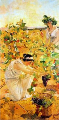 February Joquin Sorolla y Bastida was born in Valencia, Spain. La Vendemia by Joaquin Sorolla Y Bastida - Hand Painted Oil Painting Spanish Painters, Spanish Artists, Beauty In Art, Wine Art, In Vino Veritas, Art Database, Art Themes, Illustration Art, Artsy
