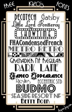 15 Free 1920's fonts; art deco fonts; Great Gatsby fonts