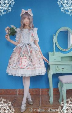 --> #LolitaUpdate: Little Dipper [-✿-Rose Lake-✿-] Elegant Lolita JSK --> Size XXL available for plus-sized Lolis --> Learn More: http://www.my-lolita-dress.com/little-dipper-rose-lake-elegant-lolita-jsk