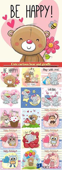 Cute cartoon bear and giraffe, owl and monkey with balloon