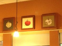 Kitchen art idea from IHOP. Uses an original print and wallpaper or fabric to do additional silhouettes.