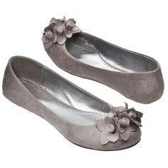 Women's Xhilaration Shirley Floral Flats Grey