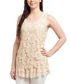 Another great find on #zulily! Caramel Crochet Linen-Blend Tank - Women #zulilyfinds