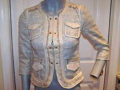 White House Black Market Patchwork Tweed Metallic Studs Bling Jacket Blazer 2 | eBay