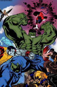 #Hulk #Fan #Art. (Hulk Vs Xmen) By: PCtechNerd. ÅWESOMENESS!!!™ ÅÅÅ+