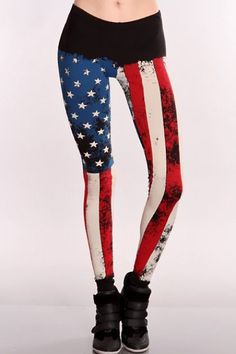 Black Multi Patriotic Printed Leggings / Sexy Clubwear | Party Dresses | Sexy Shoes | Womens Shoes and Clothing | AMI CLubwear #dresses#style#borntowear