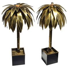 Stunning Pair of Maison Jansen Brass Gilded Metal Palm Tree Floor Lamps | From a unique collection of antique and modern floor lamps  at http://www.1stdibs.com/furniture/lighting/floor-lamps/