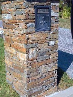 Stone column mailbox with modern locking column insert for Prefab columns