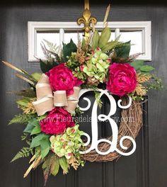 Spring Wreath for Front Door Spring Wreaths for by FleursDeLaVie: