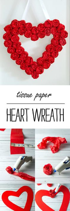 Valentine Wreath Craft Idea - Easy to Make Tissue Paper Rosette Wreath for Valentine's Day