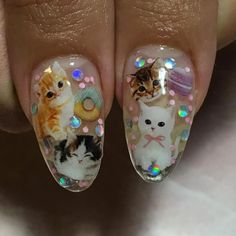Kitties, Glitter and Donuts Nail Art by @fancyfingerz3dnailart; see the full nail art gallery at http://www.nailitmag.com/nail-art-of-the-day/kitties-glitter-donuts-nail-art