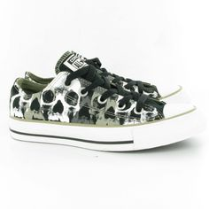 Converse Allstar Skull Ox Lace Shoes in Black White