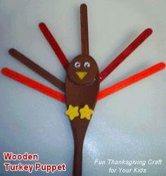 turkey wooden spoon craft #thanksgiving