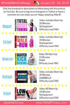 We are FOUR WEEKS into this beautiful New Year and I hope you're starting to see and feel some of the changes to your body that come with being consistent with your exer… Mind Body Soul, Body And Soul, 5 Day Workout Plan, Workout Plans, January 22, I Can, Cardio, Challenges, How To Plan